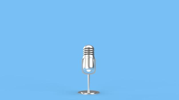Representación 3d de micrófono vintage para contenido de podcast.