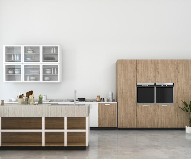 Representación 3d de mock minimalista blanca de cocina con decoración de madera