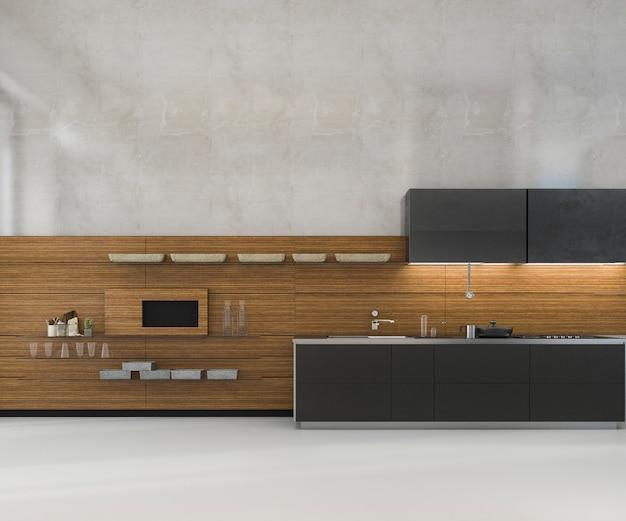 Representación 3d de mock minimalista blanca de cocina loft con decoración de madera