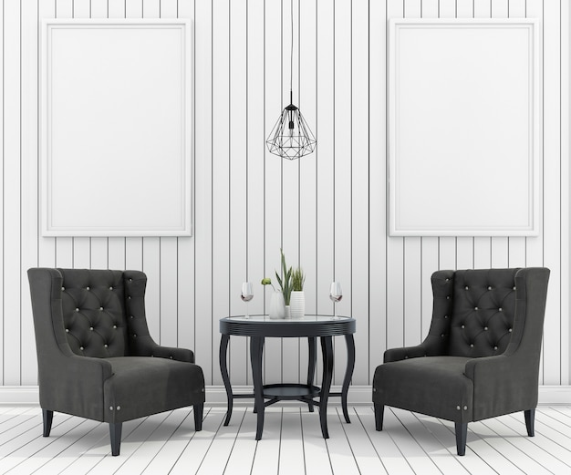 Representación 3d de mock up marco en sala de estar con sillón clásico