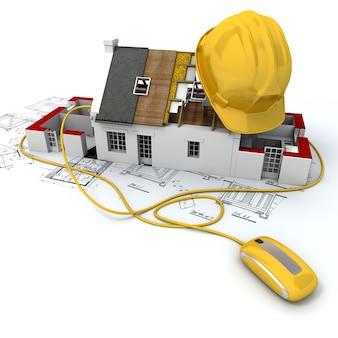 Representación 3d de un modelo de arquitectura de la casa en la parte superior de los planos con un casco de seguridad amarillo conectado a un mouse de computadora