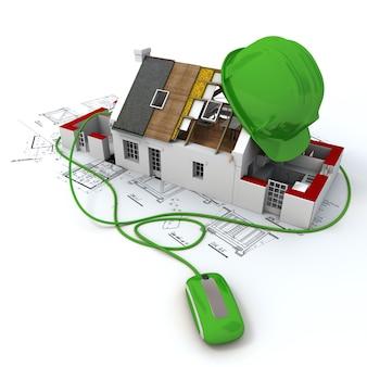 Representación 3d de un modelo de arquitectura de la casa en la parte superior de planos con un casco de seguridad verde conectado a un mouse de computadora