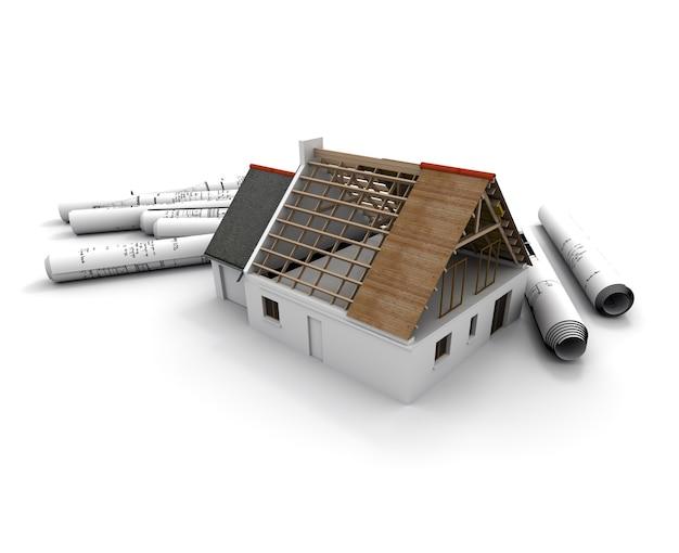 Representación 3d de un modelo de arquitectura de una casa en proceso de construcción, con planos enrollados