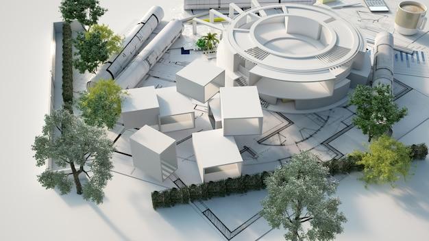 Representación 3d del modelo de arquitectura de un edificio circular