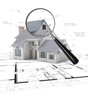 Representación 3d de un modelo de arquitectura examinado por una lupa