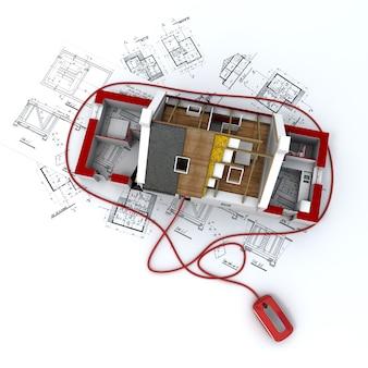 Representación 3d de un modelo de arquitectura residencial sobre planos conectados a un mouse de computadora