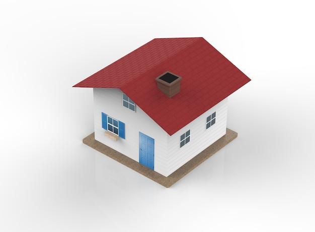 Representación 3d modelo de casa blanca con techo rojo