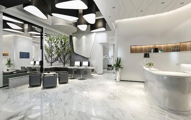Representación 3d de la moderna recepción y sala de estar del hotel de lujo