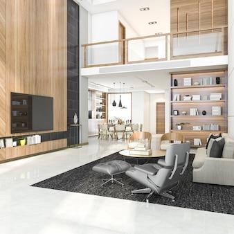 Representación 3d de la moderna sala y comedor de lujo