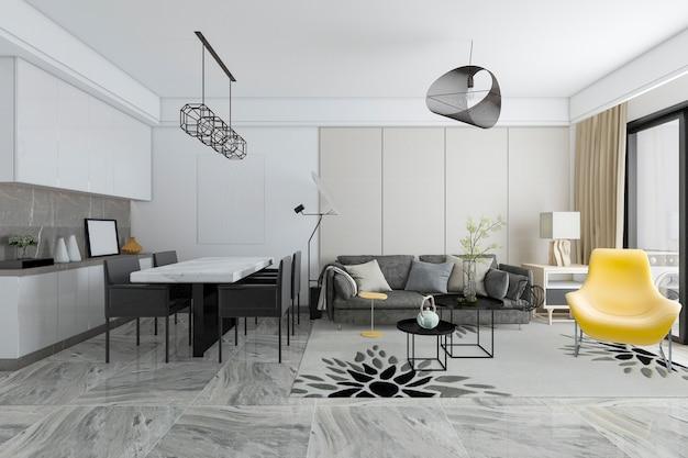 Representación 3d moderna sala de estar y comedor de azulejos