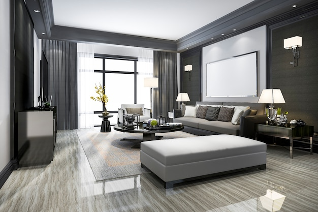 Representación 3d moderna sala de estar y con estante