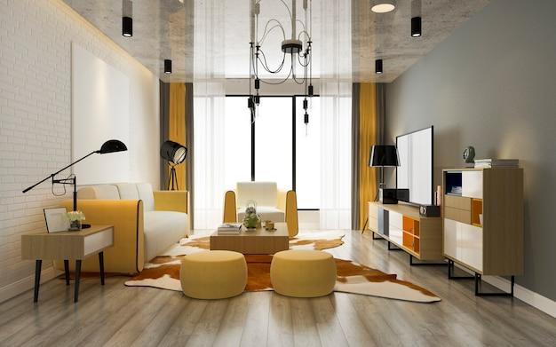 Representación 3d de la moderna sala de estar de lujo