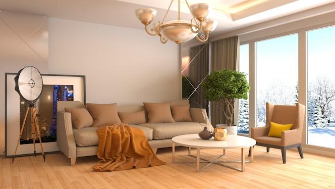 Representación 3d de una moderna sala de estar