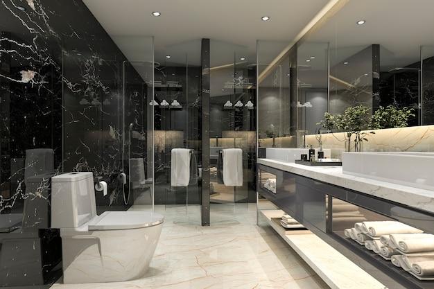 Representación 3d moderno baño negro con decoración de azulejos de lujo