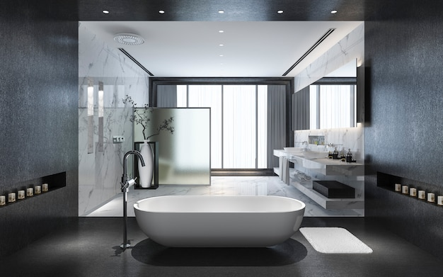 Representación 3d moderno baño de piedra negra con decoración de azulejos de lujo con bonita vista de la naturaleza desde la ventana