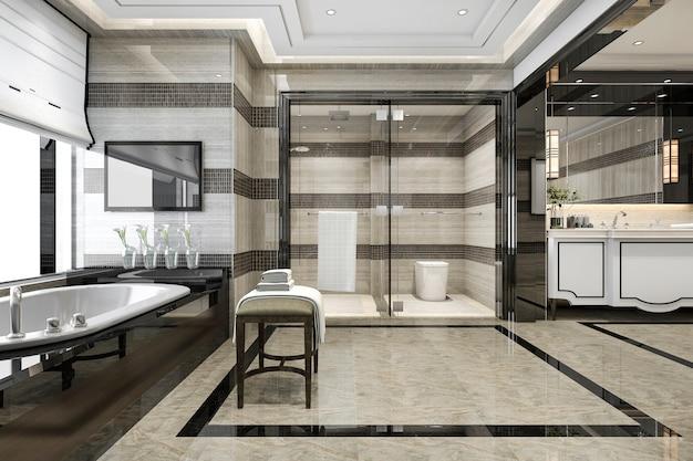 Representación 3d moderno baño tipo loft con decoración de azulejos de lujo