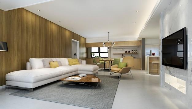 Representación 3d moderno comedor y cocina con sala de estar con decoración de lujo