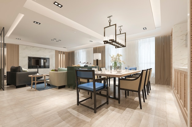 Representación 3d moderno comedor y sala de estar cerca de la cocina con una decoración de lujo