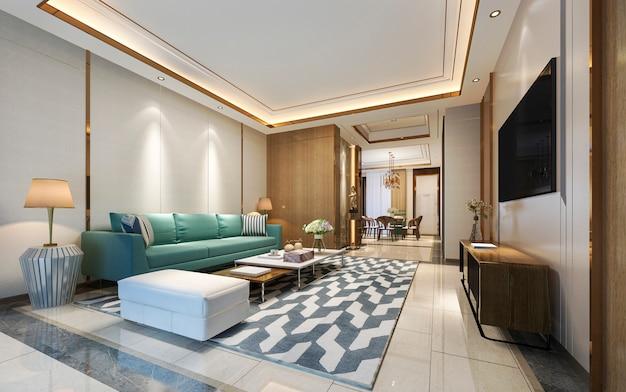 Representación 3d moderno comedor y sala de estar con decoración de lujo y sofá verde
