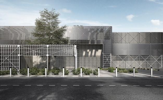 Representación 3d moderno edificio de estructura de metal y acero industrial con árbol y cielo azul