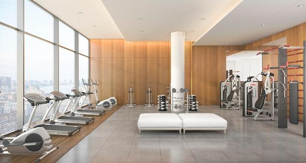Representación 3d moderno gimnasio de madera y fitness con vistas a la ciudad