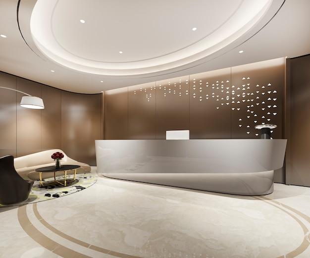 Representación 3d moderno hotel de lujo marrón cálido y recepción y salón de oficina