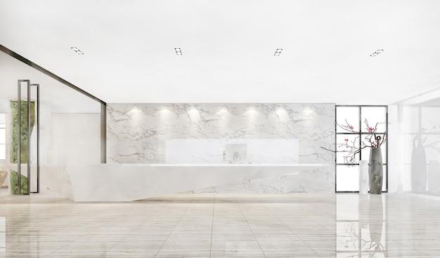Representación 3d moderno hotel de lujo y recepción de oficinas y salón