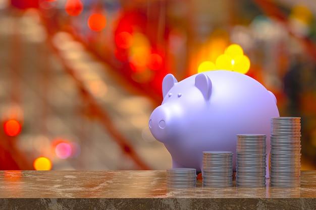 Representación 3d, moneda con una alcancía, ahorro al crecer para la idea de concepto comercial y financiero