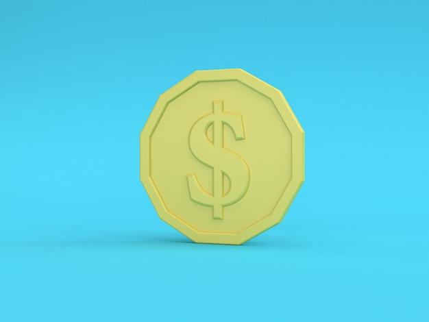 Representación 3d de la moneda amarilla del dólar estadounidense