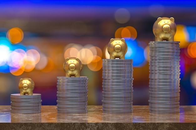 Representación 3d, moneda con un oro guarro, ahorro de crecimiento para la idea de concepto comercial y financiero, moneda en espacio de copia vacía selectiva abstracta de luz para banners de redes sociales de promoción