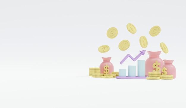 Representación 3d de monedas en colores pastel y bolsa de dinero con gráfico y flecha con espacio para texto sobre fondo blanco.