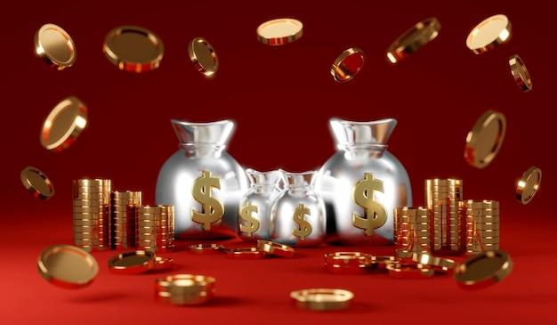Representación 3d de monedas de lluvia con bolsas de dinero con monedas borrosas en primer plano sobre fondo rojo.