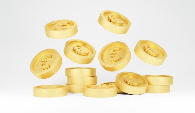 Representación 3d de monedas de oro lluvia euro cayendo sobre fondo blanco.