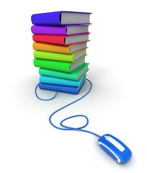 Representación 3d de un montón de libros multicolores conectados a un ratón de ordenador