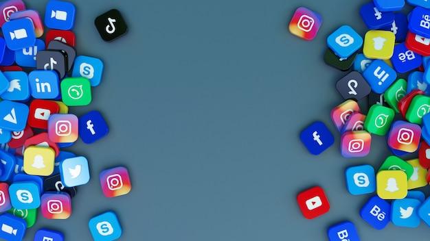 Representación 3d de un montón de logotipos cuadrados de las principales aplicaciones de redes sociales.