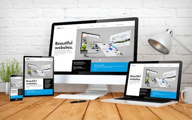 Representación 3d con múltiples dispositivos con sitio web de diseño receptivo del constructor