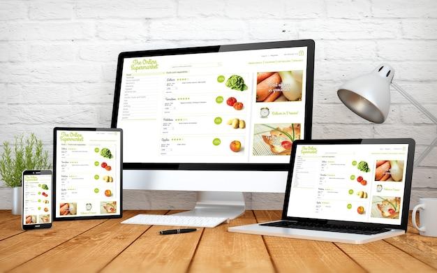 Representación 3d con múltiples dispositivos con sitio web de diseño receptivo de supermercados en línea