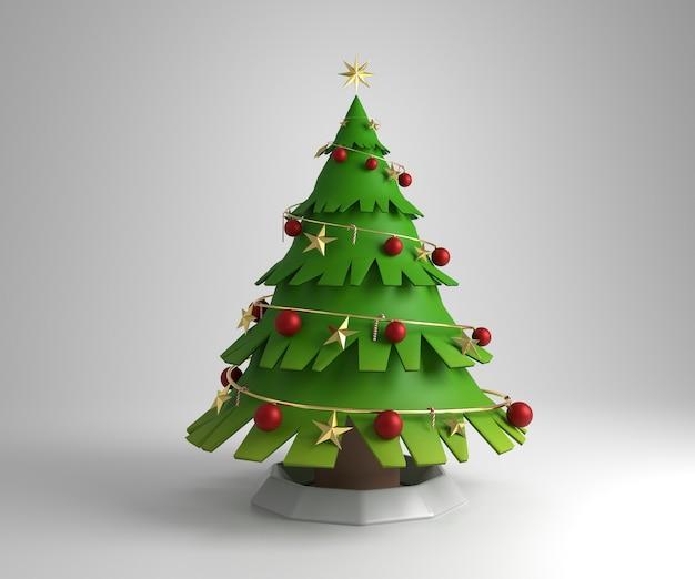 Representación 3d de una navidad con adornos