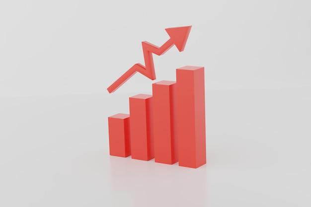 Representación 3d negocio gráfico de barras y finanzas