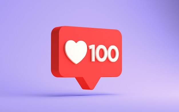 Representación 3d de la notificación de cien me gusta de instagram aislada
