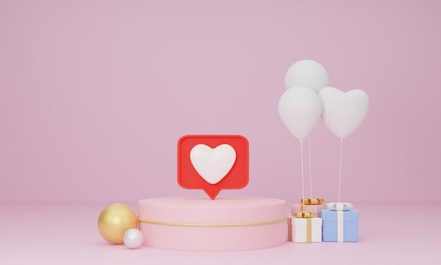 Representación 3d, notificación de redes sociales como icono de corazón en el pin de burbujas de discurso en el podio