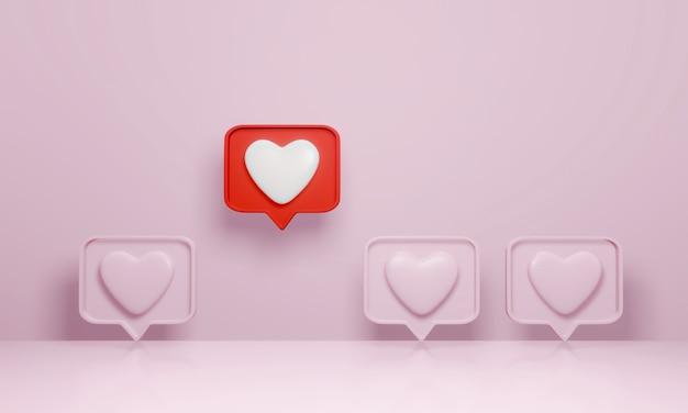 Representación 3d, notificación de redes sociales como el icono del corazón en el pin rojo de la burbuja del discurso se destacan entre la multitud en rosa