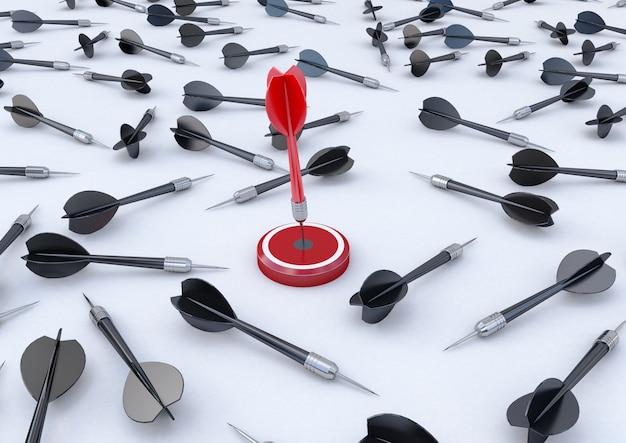 Representación 3d objetivo con un dardo en el centro. concepto de logro objetivo.