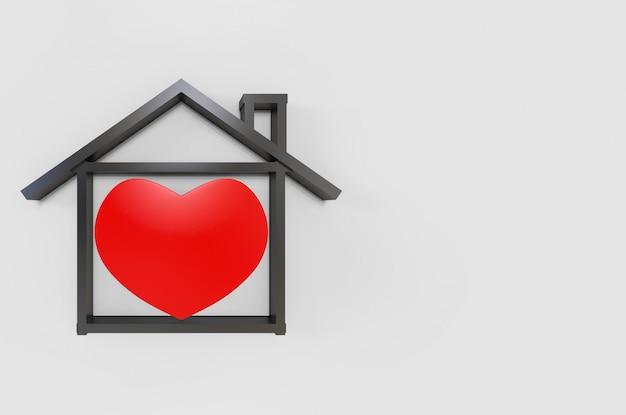 Representación 3d objeto en forma de corazón rojo en forma de casa en gris de espacio de copia. seguridad en casa por trabajo desde casa durante el concepto de tiempo de cuarentena.