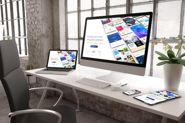 Representación 3d de una oficina industrial con dispositivos que muestran un creador de sitios web receptivo