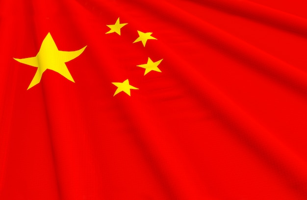 Representación 3d ondeando el fondo de la pared de la bandera nacional de china.