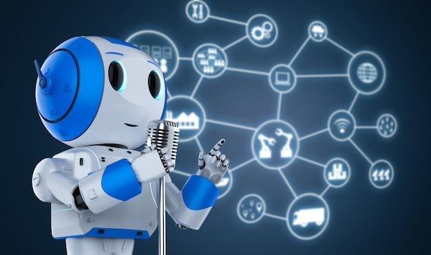 Representación 3d orador público robótico hablando con micrófono