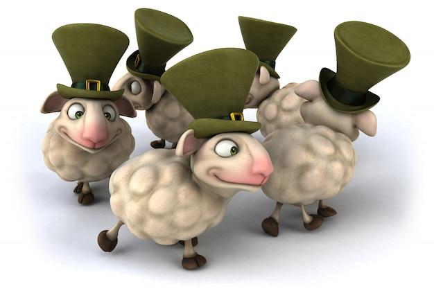Representación 3d de ovejas divertidas
