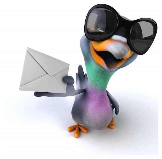Representación 3d de paloma divertida