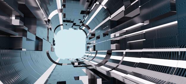 Representación 3d pantalla ancha barricada oscura simplemente elegante túnel abstracto